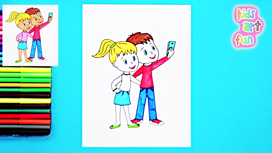 How to draw kids taking selfies with mobile phone