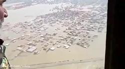 بازدید هوایی فرمانده نیروی زمینی ارتش از مناطق سیل زده گلستان
