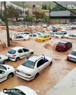 لحظاتی هولناک از سیلاب ...