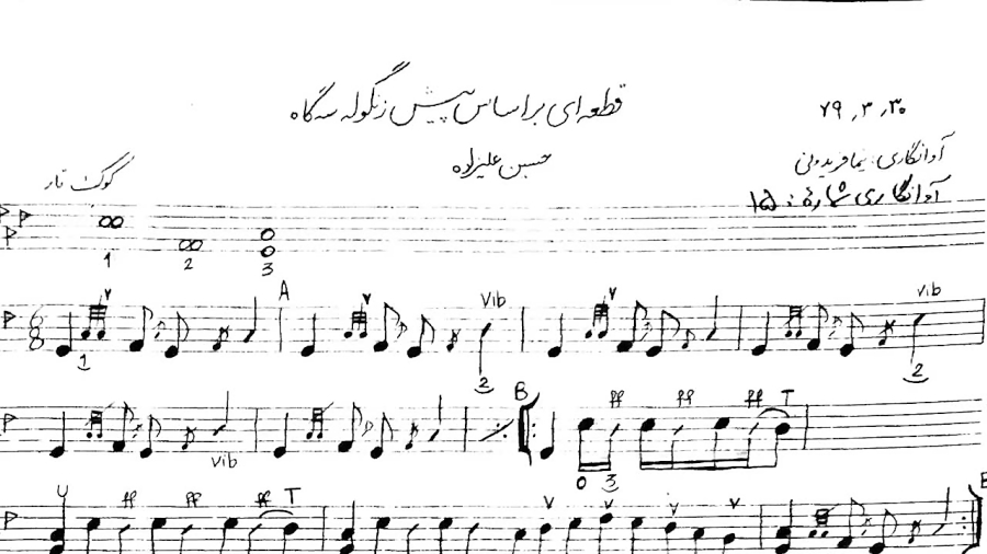 نت قطعهای براساس پیشزنگوله سهگاه حسین علیزاده آوانگار نیما فریدونی