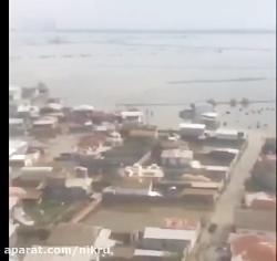 تصاویر هوایی از گمیشان ۱۰ روز پس از سیل