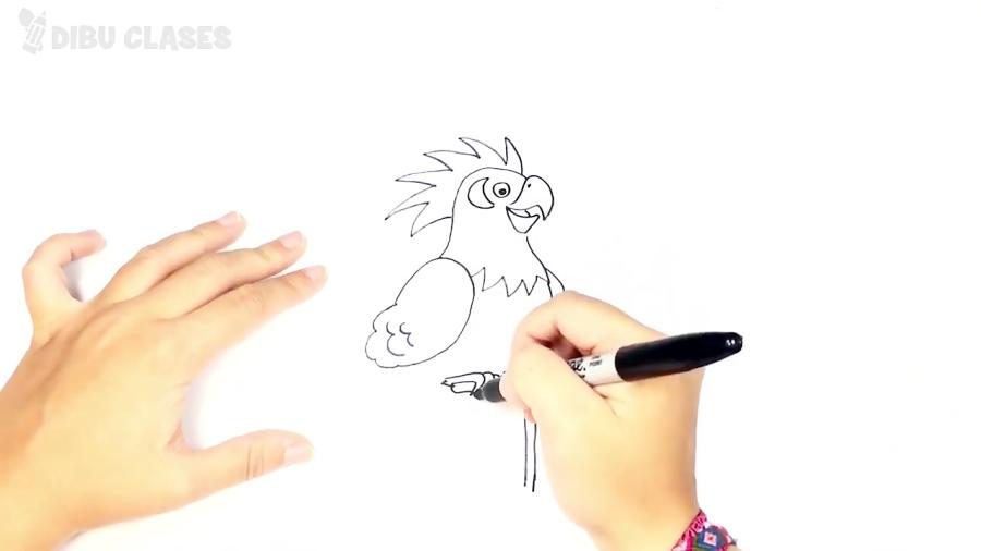 Cómo dibujar un Loro para niños | Dibujo de Loro paso a paso