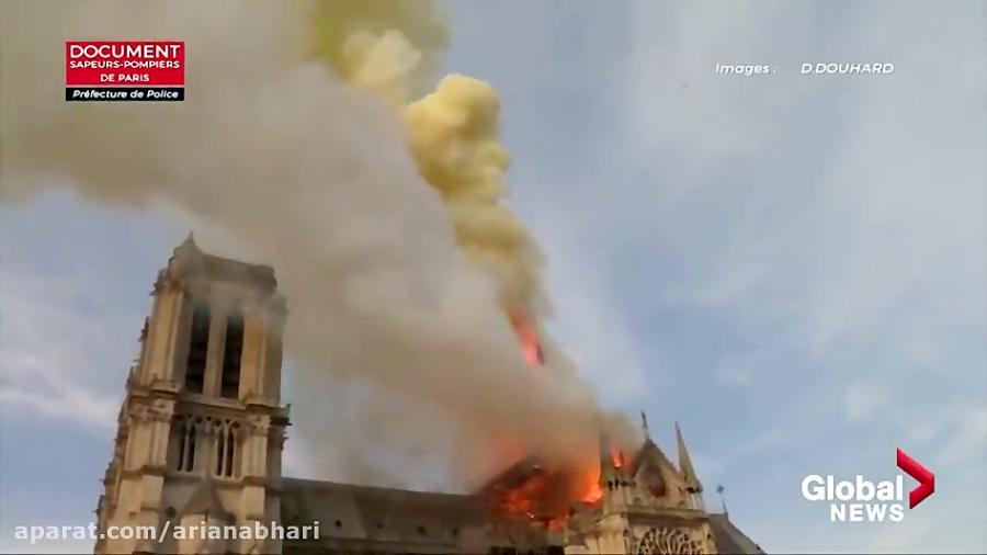 نبرد برای نجات کلیسای نوتردام از یک آتش سوزی مهیب