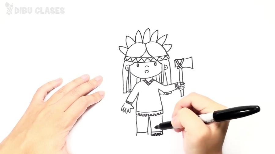 Cómo dibujar un Indio paso a paso | Dibujo fácil de Indio