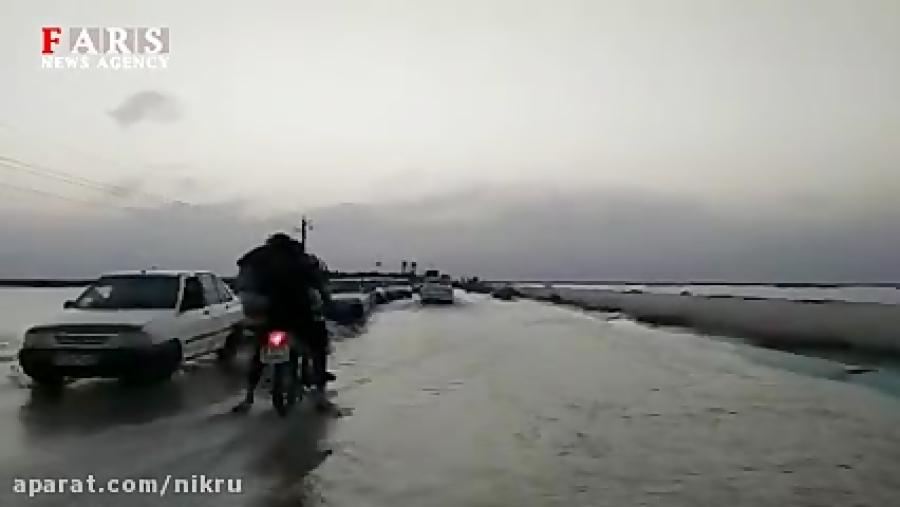 جاده شادگان دارخوین به اهواز زیر آب رفت