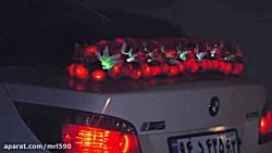 گل آرایی ماشین عروس با گل های نورانی