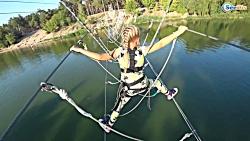 سرگرمی و تفریح کودکان در پارک : راه رفتن روی طناب