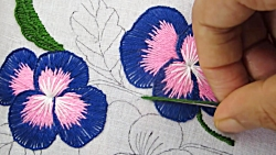 Hand Embroidery; Buttonhole stitch flower embroidery