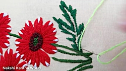 Hand Embroidery; Flower embroidery designs; Dahlia Flower by Nakshi Kantha World
