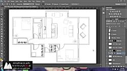 آموزش راندو و پرزانته پلان معماری در فتوشاپ_قسمت 1