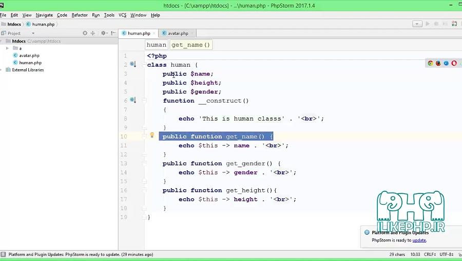#25 آموزش شی گرایی در PHP و تعیین سطح دسترسی به متغیرها و متدهای کلاس