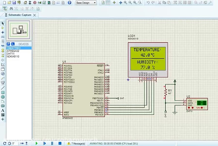 پروژه با AVR - نمایش دما و رطوبت محیط با سنسور DHT11 و نمایشگر NOKIA 5110