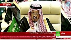 نطق خنده دار ملک سلمان علیه ایران در کنفرانس سران کشورهای خلیج فارس