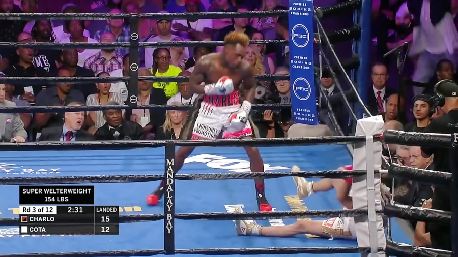 Jermell Charlo KO's Jorge Cota in 3rd round with back-to-back knockdowns