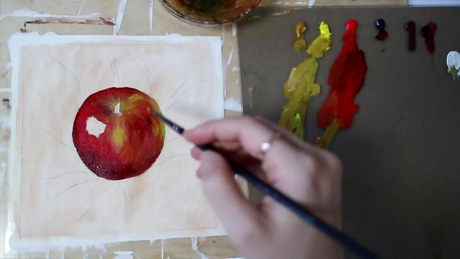 آموزش نقاشی سیب واقع گرایانه با تکنیک رنگ روغن