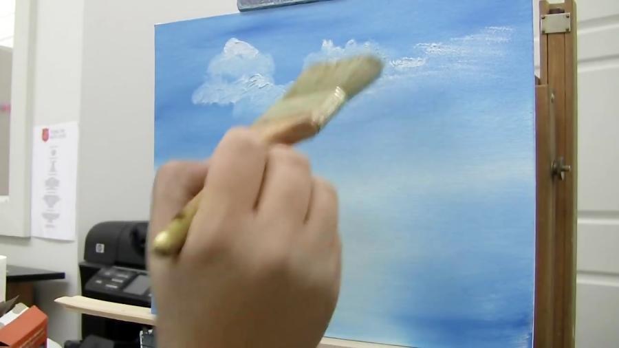 آموزش نقاشی ابرها و یک آسمان ابری
