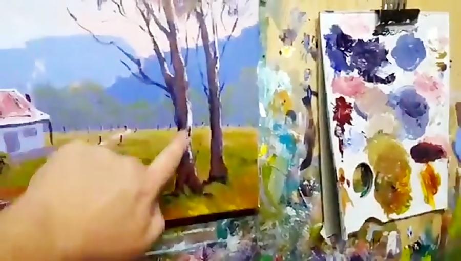 آموزش یادگیری نقاشی اکریلیک منظره روستایی