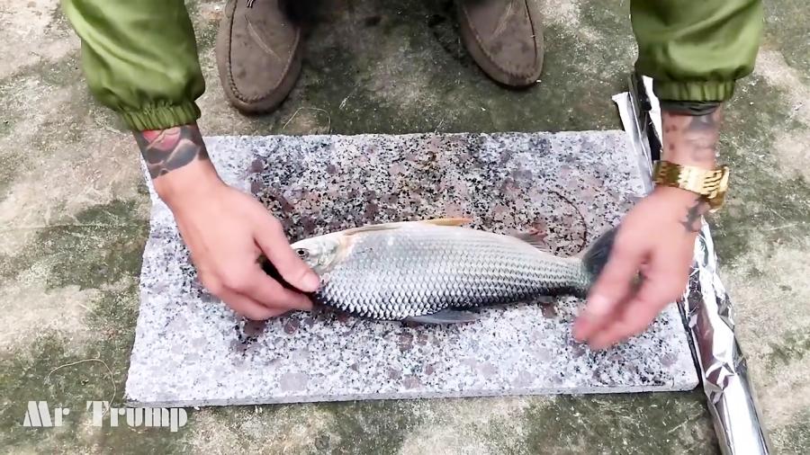 مذاب ریختن روی ماهی ( خیلی باحاله )
