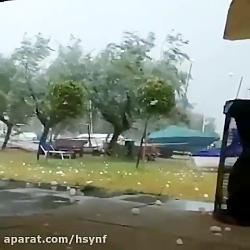 بارش عجیب تگرگ در شهر پسکارای ایتالیا