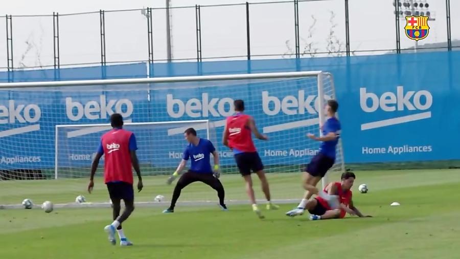 تمرین امروز بارسلونا با چهره های جدید !