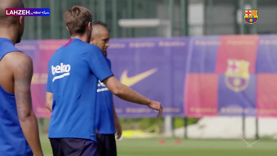 تمرین بازیکنان تیم بارسلونا /لالیگای اسپانیا