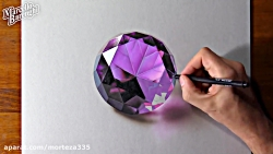 کشیدن نقاشی سه بعدی-الماس بنفش