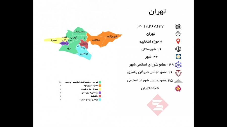 تهران با 6 حوزه انتخابی...