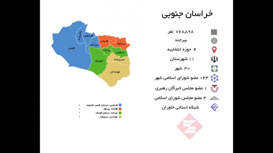 خراسان جنوبی با 4 حوزه ا...
