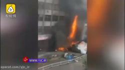 تصادف و آتش سوزی مهیبی که بعد از لایی کشی کامیون رخ داد