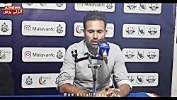 کنفرانس خبری محمد نصرتی سرمربی گل ریحان پس از پیروزی در انزلی