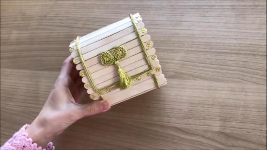 کاردستی با چوب بستنی صندوقچه