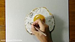 نقاشی نیمروی سه بعدی روی کاغذ