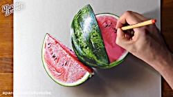 نقاشی هندوانه سه بعدی روی کاغذ