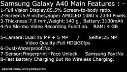 مقایسه گوشی موبایل  Samsung Galaxy A40 با  Samsung Galaxy A40s