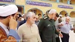 در آغوش گرفتن یک پیرمرد توسط حاج قاسم سلیمانی