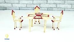 ترفند ساخت میز و صندلی کاردستی با چوب کبریت