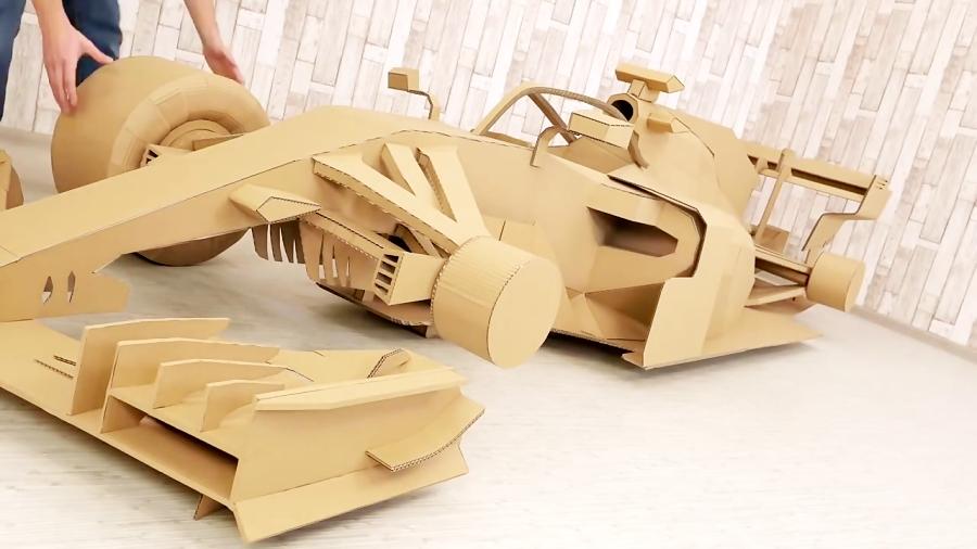Transformation of a Cardboard Formula 1 into a Ferrari F1 Racing Car