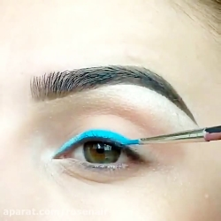 آموزش آرایش چشم و خط چشم آبی مشکی بسیار زیبا