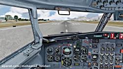 تیک آف بوئینگ 727 ایران ایر از مهرآباد شبیه ساز پرواز