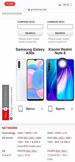 مقایسه گوشی سامسونگ مدل a30sبا گوشی شیائومی مدلnote8