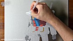 آموزش نقاشی سه بعدی آدم آهنی