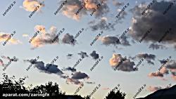 فوتیج حرکت ابر ها هنگام غروب خورشید