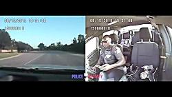 لحظه تصادف وحشتناک خودرو پلیس آمریکا