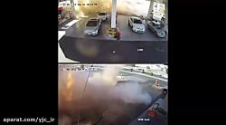 انفجار مهیب مخزن های سوخت زیرزمینی در پمپ بنزین