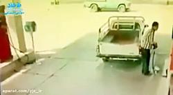 کارگر پمپبنزین به دنبال پول بنزین