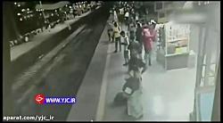 واکنش بینظیر مأمور قطار برای نجات جان مسافر!