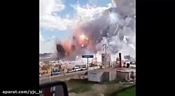 فیلم جالب از انفجار کارخانه ساخت ترقه و وسایل آتشبازی