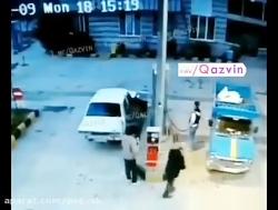 انفجار نیسان در جایگاه CNG جاده بوئین زهرا