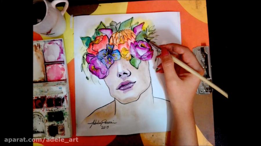 اموزش نقاشی ابرنگ از چهره پسر و گلها