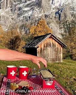 صبحانه در کوههای آلپ سوییس